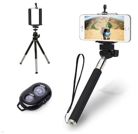 De-TechInn Combo Of Adjustable Mini Camera And Mobile Holder Clip Stand With Metal Tripod
