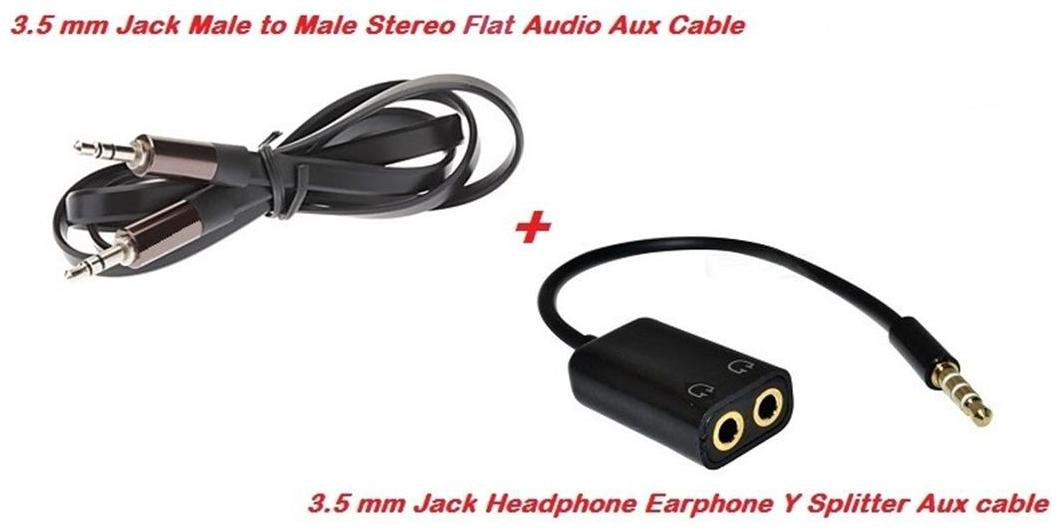 De TechInn Mobile Accessory Combo Set of Flat Stereo Male to Male 3.5mm Audio Aux Cable + Audio Aux Y Splitter Adapter 3.5 mm Male to Two Female Jack