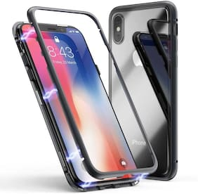 Apple iPhone X Metal & Glass Back Cover By DealClues ( Black )