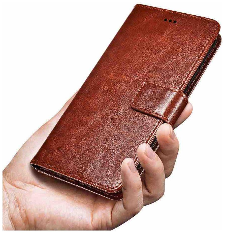 Samsung Galaxy ON NXT Faux Leather Flip Cover By DealClues   Brown   by Sahariya Enterprise