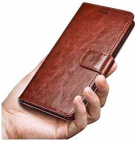 OPPO F7 Faux Leather Flip Cover By DealClues ( Brown )
