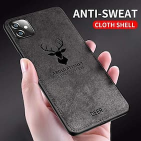 EXOTIC FLOURISH Cloth & Silicone Armor Case & Back Cover For Apple iPhone 11 ( Black )