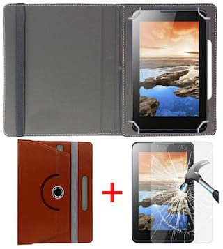 Dell Venue 7 3740 Tablet Book Cover + Free Tempered Glass by Hello Zone-Brown