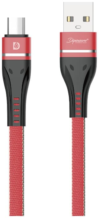 Dipinsure Data & Charging Type-C Cable ( 1.2 m , Red )