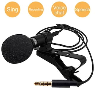 DIVYE Mini 3.5mm Clip Microphone For Beginner, Youtube, Collar Mic For Voice Recording, Lapel Mic Mobile, Pc, Laptop, Android Smartphones, Dslr Camera Clip On Mini Lapel Lavalier Microphone  (Black)