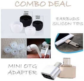 Duisah Combo of Earbuds / Earplugs for all In-Ear Earphones (Pack of 2 pairs) - White & Mini OTG Adapter (Assorted)