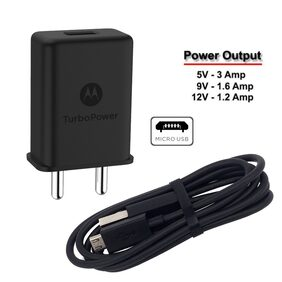 Motorola Mobile Charger 3AMP Turbo Power | Supports All Moto Models | With Warranty | Charger For Motorola Phones