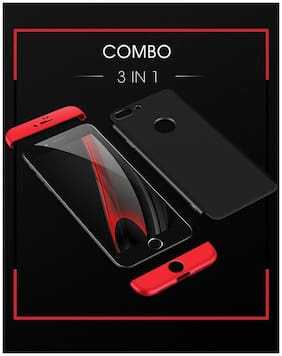 E-COSMOS Double Dip Full Protection Back Cover Case For Apple Iphone 8 Plus (Black & Red)