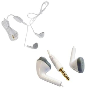 Earphone with Mic Headset Compatible With All Android Samsung   Xiaomi   MI   Sony   Micromax   Honor-White