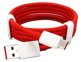 EBR Warp and VOOC Fast Charging and Sync USB Type C Cable .8 m (Compatible with All Type c Device;Red;One Cable)