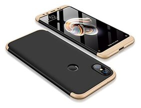 eCosmos Double Dip Full Protection Back Cover Case for Mi A2 / Redmi A2 (Gold and Black)