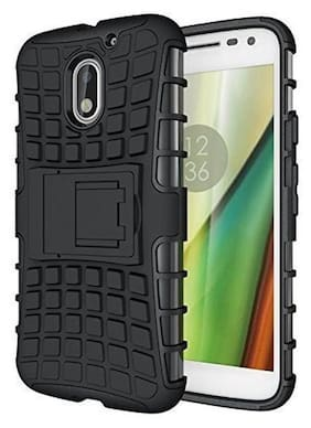 ecosmos Moto E3 Power Defender || Case for Dual Layer Tough Rugged Shockproof Hybrid Warrior Armor Case Back Cover With Kickstand / Black