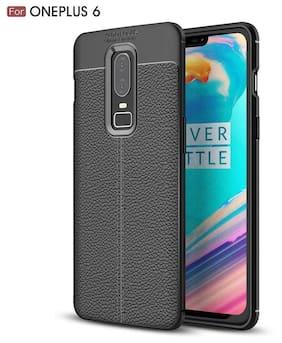 eCosmos OnePlus 6 Case Rugged Armor Leather Finish Back Cover for OnePlus 6 2018 - Midnight Black [One Plus 6 || 1 Plus 6 ] [ 1p6 ] AutoFocus (Black)