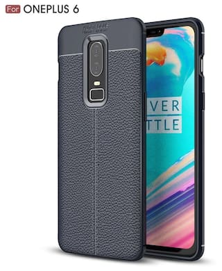 reputable site 36b65 76d2d eCosmos OnePlus 6 Case Rugged Armor Leather Finish Back Cover for OnePlus 6  2018 - Midnight Black [One Plus 6 || 1 Plus 6 ] [ 1p6 ] AutoFocus ...