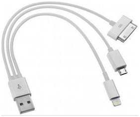 eCosmos (TM) 3 in 1 Data Cable for Micro USB, iPhone 4 & 5 USB Cable (White)
