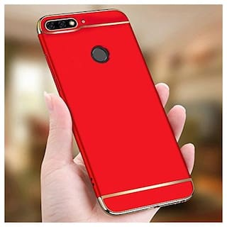 buy online 9638e 60b5d Electroplated Luxury 3-in-1 Slim Fit 360* Protection Hybrid Hard Bumper  Back Cover For HUAWEI Honor 7A (RED)