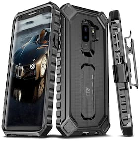 ELV Protective Belt Clip Rugged Case Cover with Kickstand for Samsung Galaxy S9 Plus (Black)