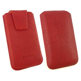 Emartbuy  Red Classic Premium PU Leather Slide in Pouch Case Cover ( Size 3XL ) With Pull Tab Mechanism Suitable For Leagoo Z3C Smartphone