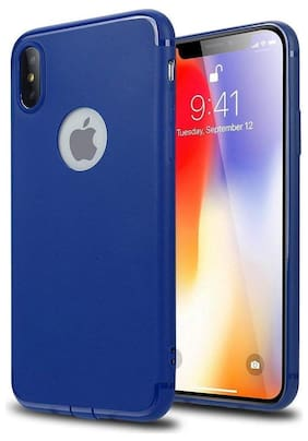Emartos Back Cover For Apple Iphone Xs Max with Blue Matte TPU Line