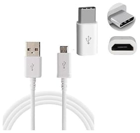Emartos High Quality USB Data cable For charging/transferring Data with Free Type C (3.1) Adapter Connector All Android Smartphone(COMBO SET WHITE)