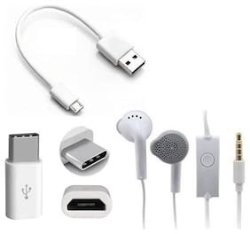 Emartos Power Bank Data cable with Free Type C Adapter (Connector) and high quality Earphone (PACK OF 3 SET)