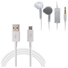 Emartos YR Earphone/Headphone with Free High Quality USB Data cable For charging/transferring Data (Combo set)