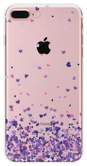 Enflamo 3D Love Little Heart Pattern Design Printed Case Soft TPU Embossed for Apple iPhone 7 Plus, iPhone 8 Plus (Purple)
