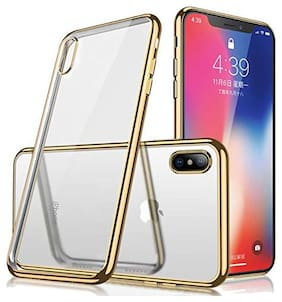 Enflamo Crystal Clear Case Soft Back Cover Case with Electroplated Frame Bumper Ultra Slim TPU Gel Case for iPhone Xs MAX (2018)