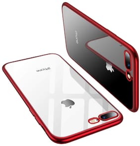 Enflamo Crystal Clear Case Soft Back Cover Case with Electroplated Frame Bumper Ultra Slim TPU Gel Case for Apple iPhone 7 Plus, iPhone 8 Plus (Red)