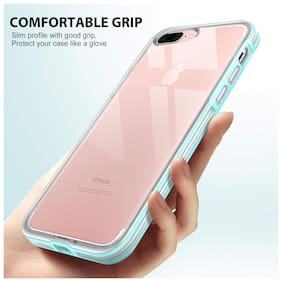 Enflamo Shockproof Bumper Back Case Cover Soft Slim Defender Impact Resistant Colorful Bumper Protective Case Apple iPhone 7 Plus/iPhone 8 Plus (Blue)