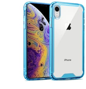 Enflamo Shock Proof Clear Transparent Hard Back Hybrid Soft Bumper Anti Scratch Cover Cases for iPhone (iPhone XR, Blue)