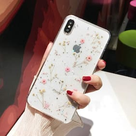 Enflamo Soft Silicone Clear Flexible Pressed Dry Real Flowers Case Glitter Floral Back Cover for iPhone X, XS (Pink)
