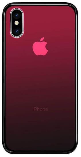 Enflamo Transparent Anti-Scratch Tempered Glass Back Case for Apple iPhone X (Gradient Red)