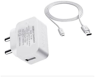 ERD 1amp USB Wired Fast Charger with USB Free Cable (White)