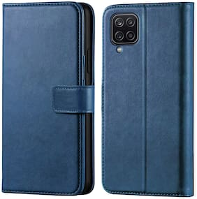 Samsung Galaxy M12 Faux Leather Flip Cover By EXOTIC FLOURISH ( Blue )