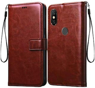Redmi Note 5 Pro Faux Leather Flip Cover By EXOTIC FLOURISH ( Brown )