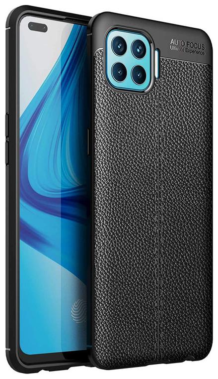 OPPO F17 Faux Leather Back Cover By EXOTIC FLOURISH ( Black )
