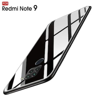 Redmi Note 9 Glass Back Cover By EXOTIC FLOURISH ( Black )