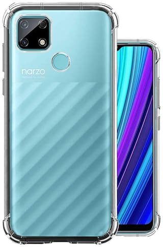 Exotic Flourish Back Case Cover for Realme Narzo 30A | Realme Narzo 20 | Realme C12 | Realme C25s (Transparent) | Bumper Shockproof Crystal Clear TPU Soft Back Cover Case with Cushioned Edges