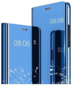 Exotic Flourish Luxury Mirror View Stand Flip Back Case Cover Compatible for Samsung Galaxy F62 [Smart Cover, Video Stand, Light Wieght, Shock Proof Flip Cover]-Blue