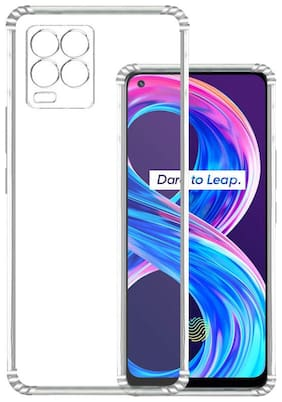 Exotic Flourish Shockproof Bumper TPU Flexible Soft Back Cover Case for Realme 8 Pro (with Dust Plug and Camera Protection) (Transparent)