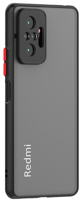 Explocart Smoke Camera Color Button Protection Translucent Shock Proof Smooth Hard Back Case Cover for Redmi Note 10 Pro - Black