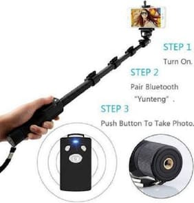 Extendable Handheld Selfie Stick and Monopod with Bluetooth Remote (YT-1288) -Black