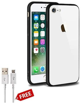 Fabtec Mobile Glass Back Cover for Apple iPhone 6/6s Soft Edge TPU & Shock Proof Back Case Cover With Micro USB Data Cable (White)