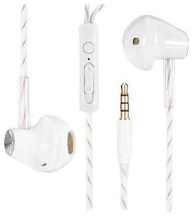 Fashion Sport Earphone with Mic & Volume (-/+) Gold Plated 3.5 mm jack -EZ399 WHITE