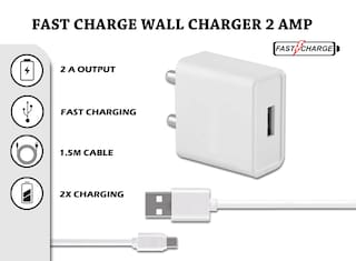 FAST CHARGE WALL CHARGER 2.0 AMP FOR SMARTPHONES WITH MICRO USB DATA CABLE (CHARGER+ CABLE)