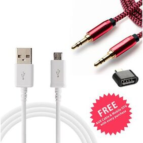 Fast Charging USB Data Cable + Aux Cable + OTG for all Android Devices