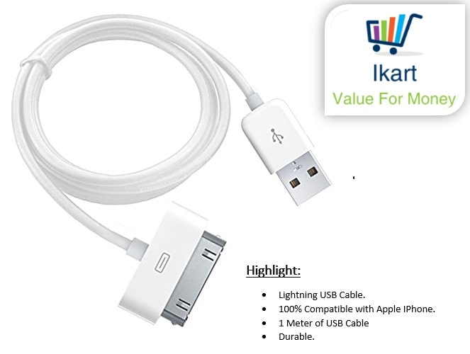 Fast Charging USB to 30 Pin Lightning Charging   Data Sync Cable for iPhone 4/4S/3G/3GS/iPad/iPod