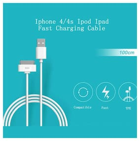 Fast Data Sync & Charging 1m Cable For Apple 4 & 4s Devices - (White)