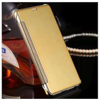 check out b15a6 72688 Feomy New Luxury Smart Clear View Mirror Flip Cover For Xiaomi Redmi Note 4  - Gold